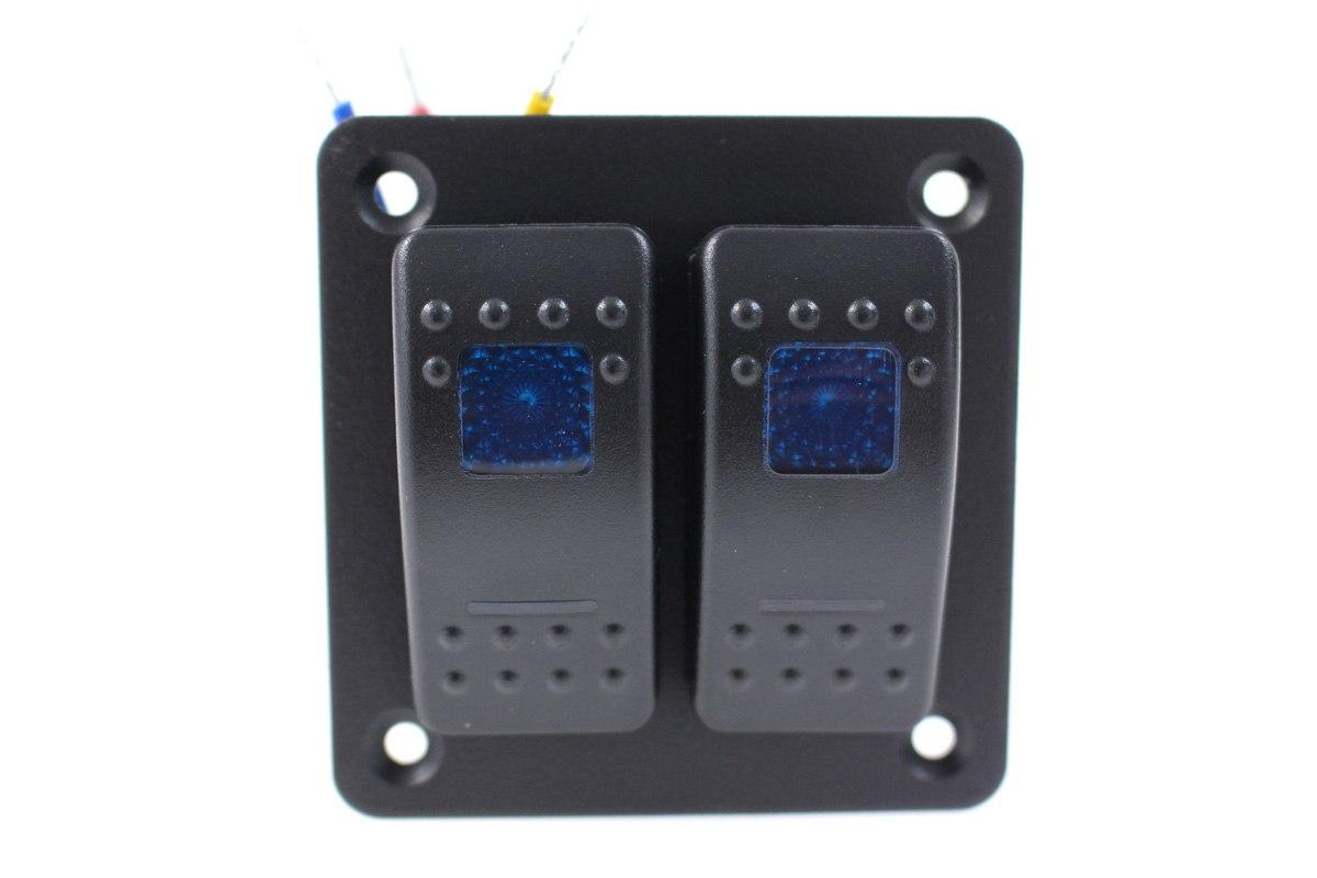 Włącznik panel Alu, ON/OFFx2 Blue - GRUBYGARAGE - Sklep Tuningowy